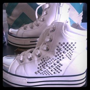 Sheikh white leather studded high top